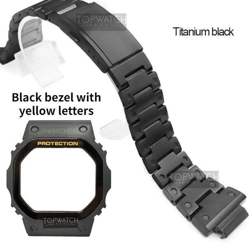 DW5600 Titanium Alloy Camouflage Watch Strap For DW5600 GW5600 DW5000 5035 CasiOak Mod Watch Case Bezel GW-M5610 Belt Band Black enlarge