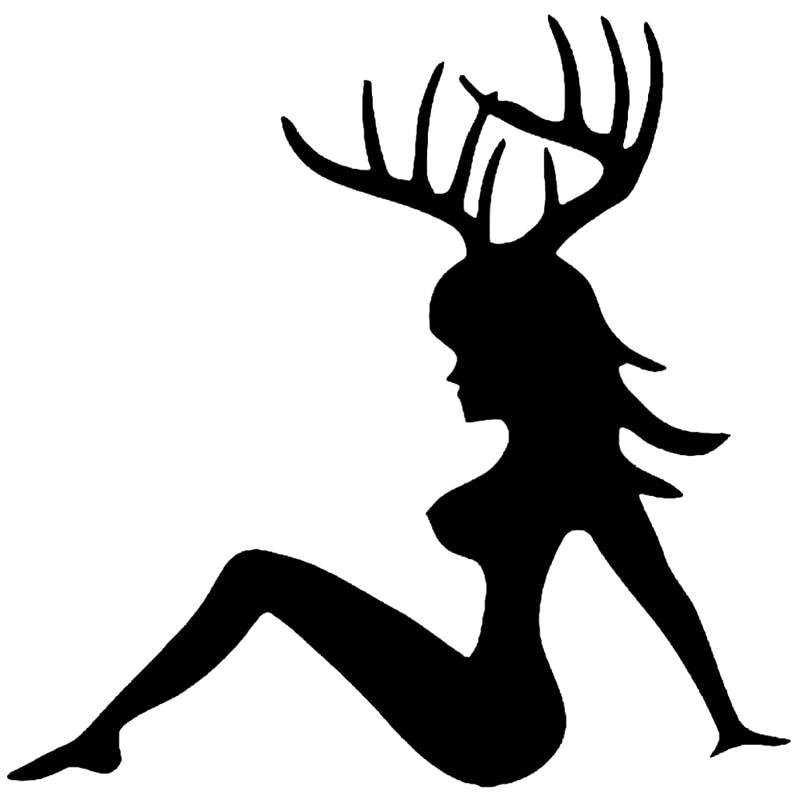 Car Sticker Sexy Girl Deer Buck Reflective Funny Vinyl Applique Decoration Accessories Sticker, ZWW0735, 15cm*15cm