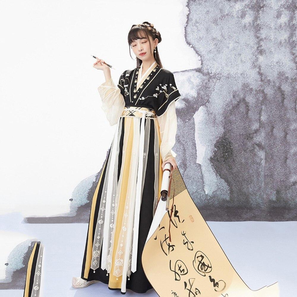 التقليدية الصينية نمط Hanfu الأميرة فستان سيدة زي أنيقة القديمة التطريز الشعبية تانغ دعوى الجنية أداء الملابس