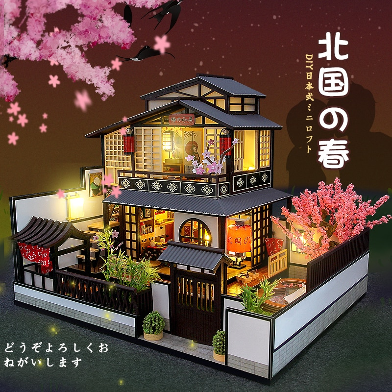 Деревянный кукольный домик «сделай сам» с японской архитектурой, собранный миниатюрный кукольный домик Сакура с мебелью, игрушки для взрос...
