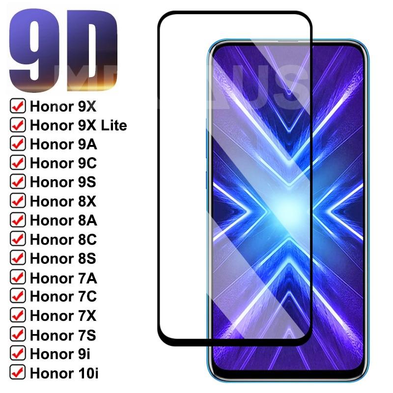 Vidro protetor 9d, para huawei honor 8x 8a 8c 8s 9a 9c 9s 7a 7c 7x 7s, protetor de tela em vidro temperado honor 9x 8 lite 9i 10i 20i