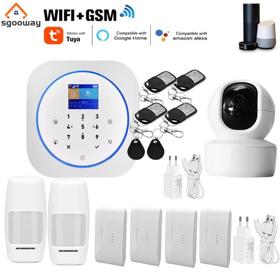 نظام إنذار أمان منزلي لاسلكي, Sgooway Tuya Touch keypad Smart Life WIFI GSM نظام إنذار أمان منزلي لاسلكي مع كاميرا فيديو منزلية IP من Alexa Google
