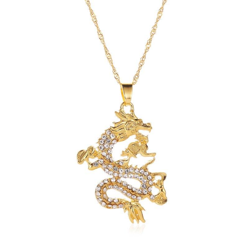 Collar clásico con colgante de dragón chino de circonia Pavé de oro Vintage para hombres, accesorios de joyería con cadena de suéter dominantes poderosos