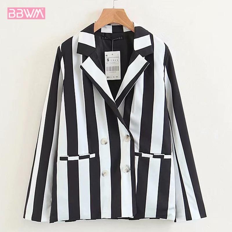 Solapa manga larga Mujer abrigo negro blanco rayas traje pequeño traje de moda coreana otoño 2019 temperamento profesional chaqueta de las mujeres