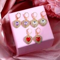 bling double row rhinestones crystal love heart drop earrings for women gold color full rhinestone fashion wedding new jewelry