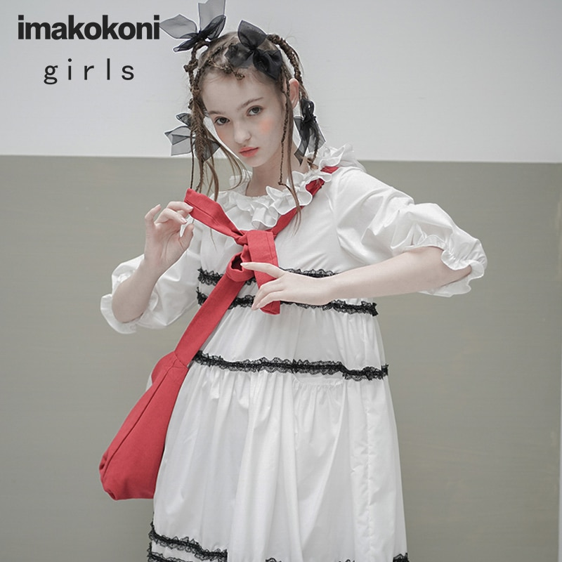 Imakkokoni design original gola de renda dupla manga média longa seção japonês solto vestido verão 202993