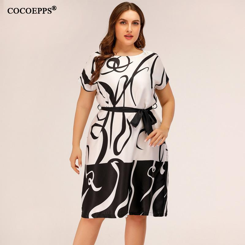 5xl Office Work Big Size Women Dress Vintage Printed Midi Evening Party Dress Sashes Elegant Summer Dress Plus Size Clothes