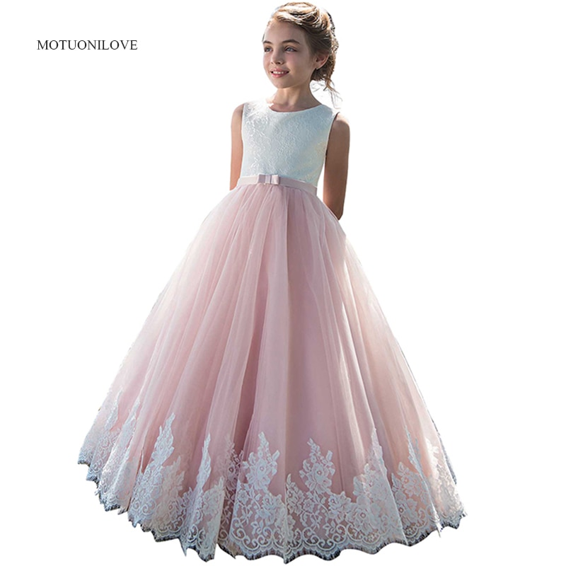 elegant flower girl dress for wedding kids sleeveless lace tulle pageant ball gowns long princess dresses girls party dresses Pink Lace Tulle Flower Girl Dress Junior Girls Princess Pageant Dress Kids Prom Ball Gowns Birthday Party Dresses 2019