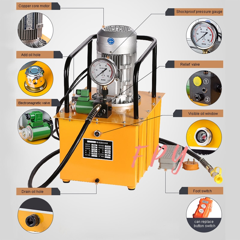 DB150-D1 de bomba eléctrica hidráulica de alta presión con válvula magnética, acción única, potencia del Motor 1,5 K W, voltaje 220V/380 opcional