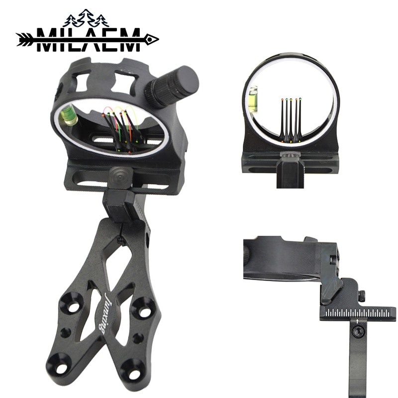 Archery Bow Sight for Compound Bow Targeting CNC Aluminum Alloy High Fiber Fluorescent Aiming Core Bow Sight Hunting Accessries