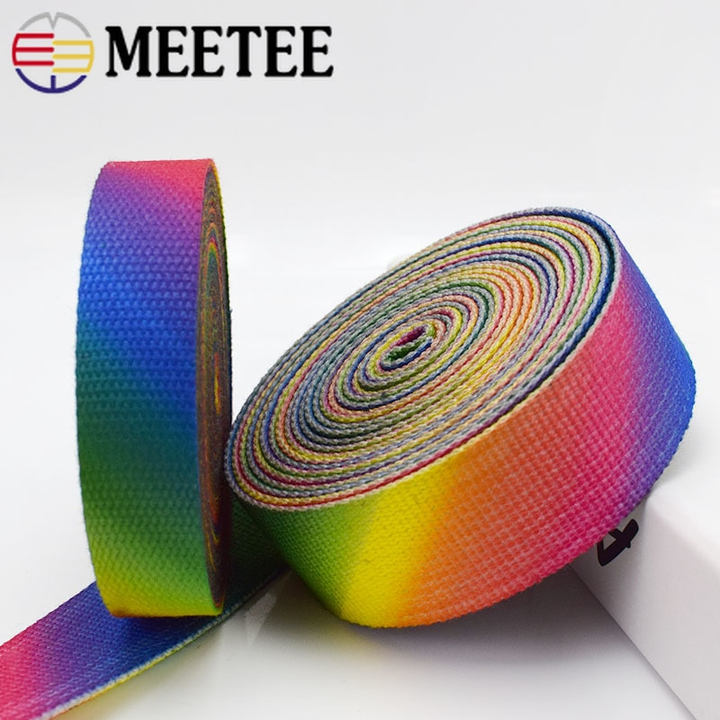 8M 23/38mm 2mm Thick Printed Canvas Webbings High Tenacity Backpack Strap Webbing Ribbons Clothes Bag Sewing Tape Bias Binding