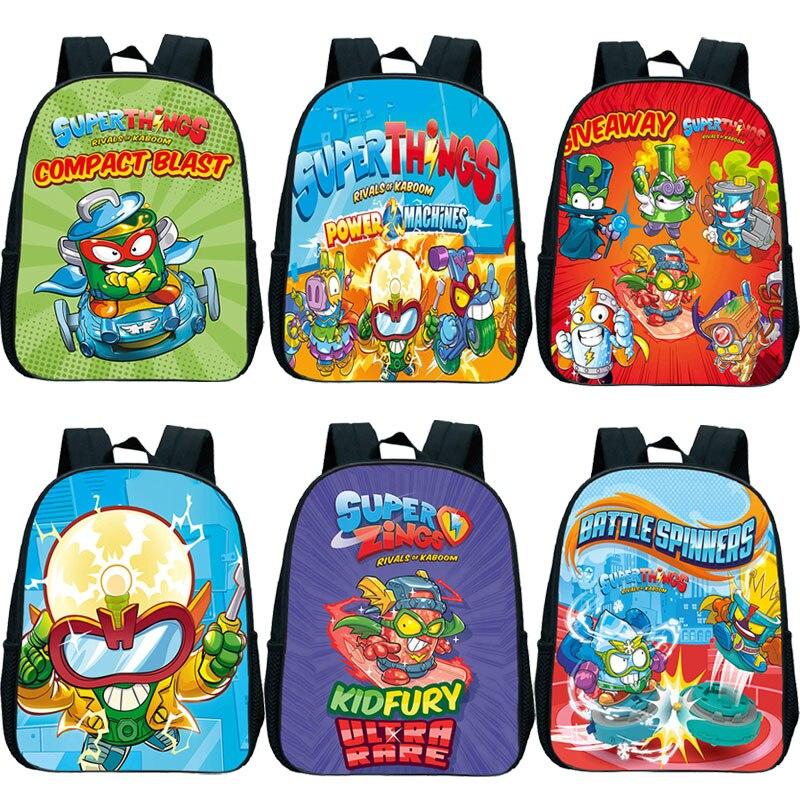 Mochila do Jardim de Infância Bolsas de Escola Meninos dos Desenhos Nova Superzings Série Crianças Super Coisas Childs Criança Animados Bookbag Presente 7