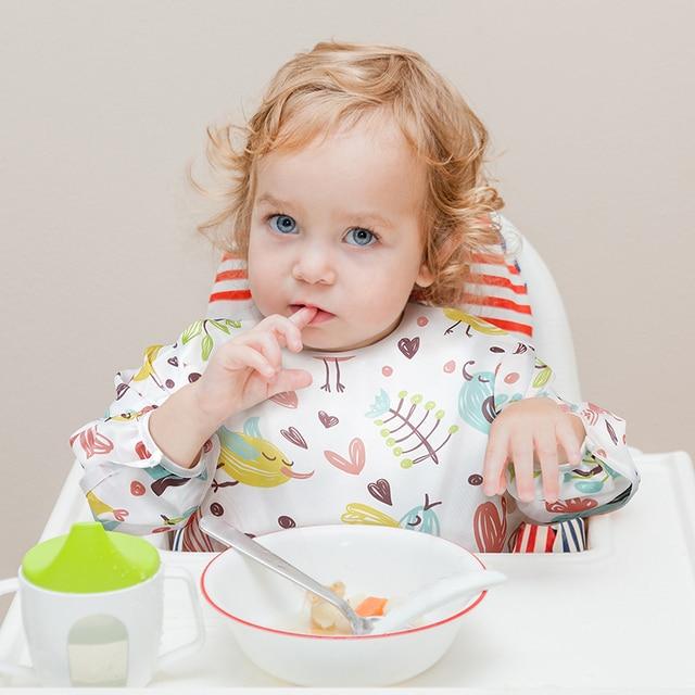 Baby Bibs Waterproof Long Sleeve Infant Feeding Bib with Pocket Cute Cartoon Apron Kids Burp Cloth Unisex Baby Stuff 2