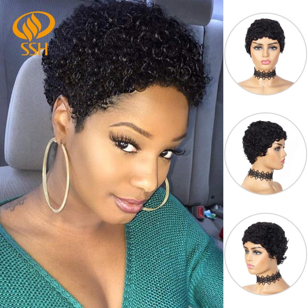 Pelucas Afro Rizado corto 100% de pelo humano peluca rizada con flequillo corte Pixie pelucas completas rizadas mullidas africanas para mujeres negras Color negro