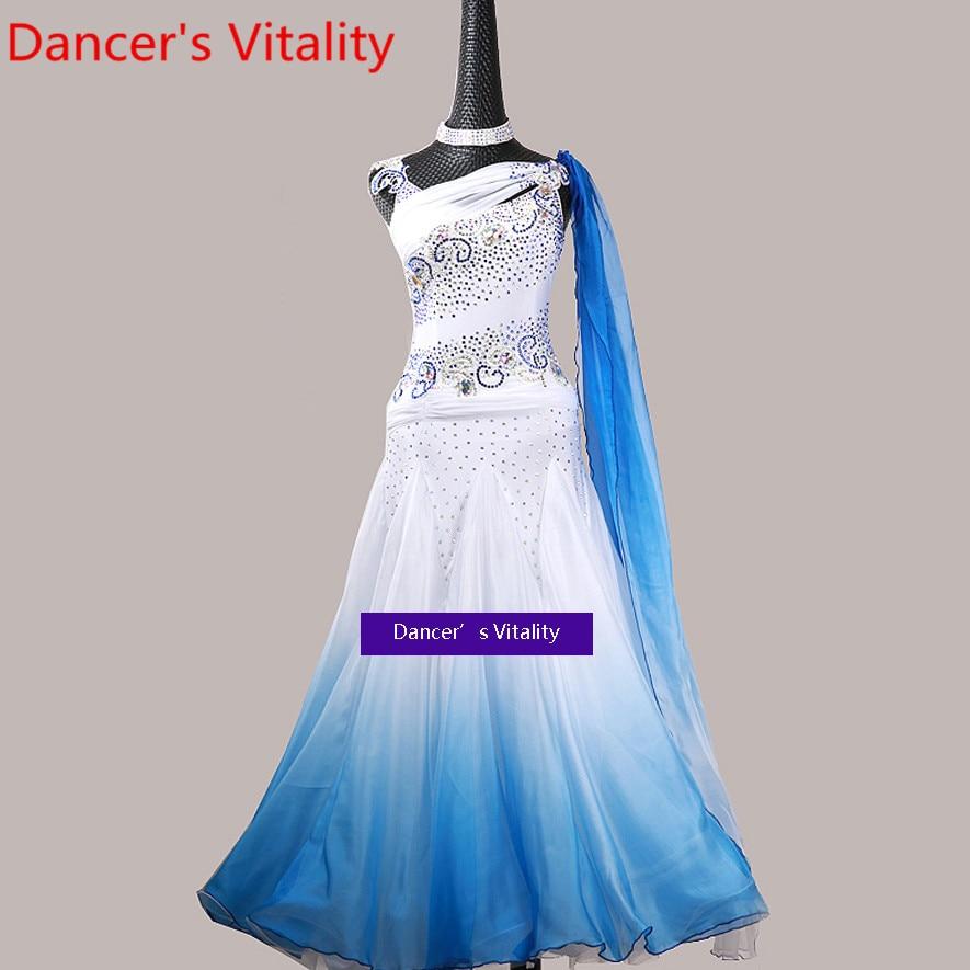 المرأة الحديثة الرقص المنافسة زي جديد صفعة متابعة تنحنح كبير الماس فستان التانغو الفالس قاعة الرقص أداء المرحلة ارتداء