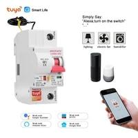 Disjoncteur de commande a distance Tuya WiFi 1P  commutateur intelligent din rail compatible avec Alexa et google home pour maison intelligente