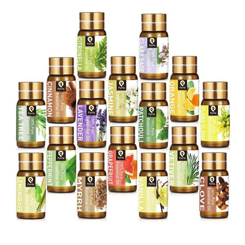 Pyrrla 5ML Pure Essential Oil Massage Humidifier Tea Tree Orange Peppermint Eucalyptus Lemongrass Lavender Aromatherapy Oil