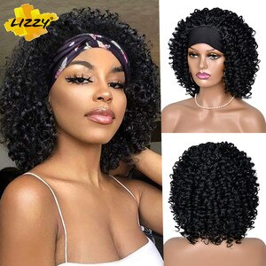 Headband Afro Kinky Curly Wig Short Hair HeadWrap Wigs With Turban Omber Glueless Wig For Black And White Women 8inch Lizzy Hair