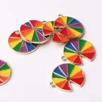 zinc alloy enamel charms drop oil rainbow charms flower 17mm 10pcslot for diy fashion jewelry making finding accessories