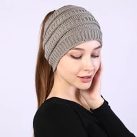 autumn winter ponytail beanie hat women stretch knitted crochet beanies cap winter hats cap for women warm lady