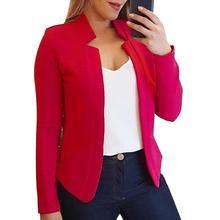 Fall Fashion Women Solid Color Long Sleeve Stand Collar Slim Blazer Coat