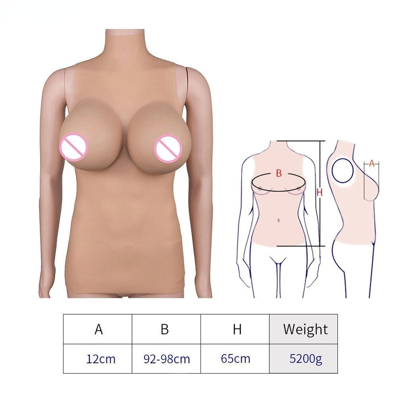 Realistic Silicone Bust Breast Breast Form Suitable for Cross-dressers Shemale and Transgender Role-playing Hot Sale 5200g