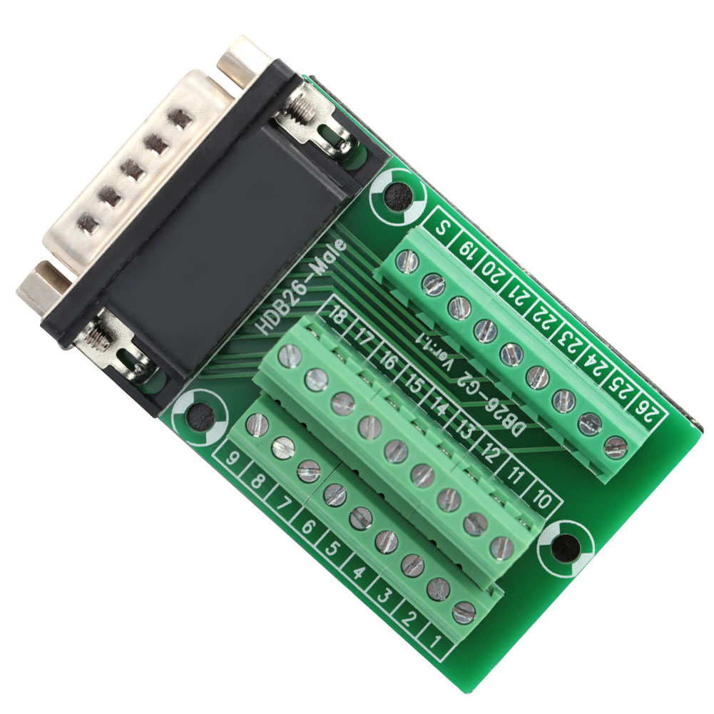 connector db37 d sub female jack 37 pin port terminal breakout 2 row solder free db37 d sub db 37 adapter terminal for db cable CNC Breakout Board DB26-G2-01 D-SUB Male Adapter to PCB Terminal Signals Connector Module motion controller card driver board