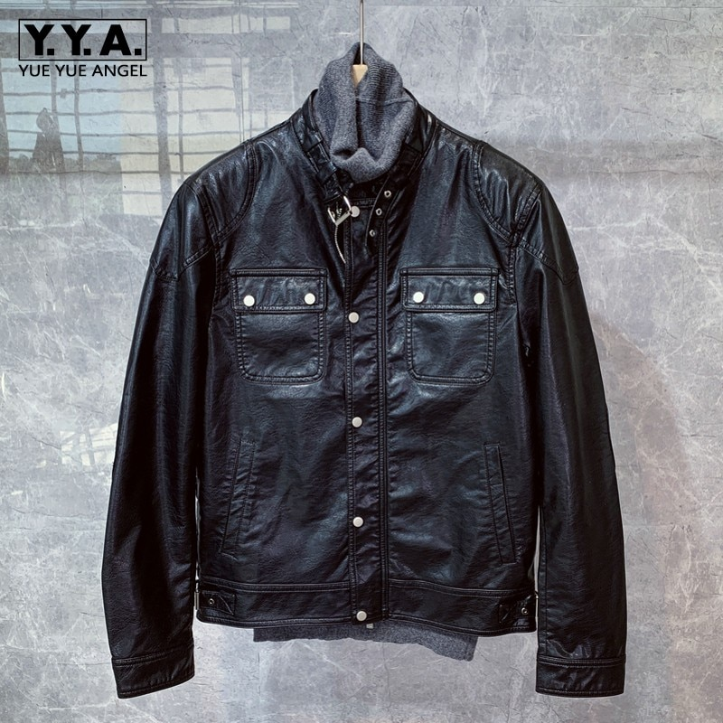 Men Stand Collar Biker Real Leather Jacket Winter Sashes Slim Short Casual Leather Coat Street Motorcycle Black Outerwear M-3XL