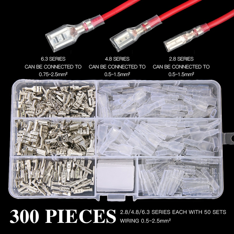 300pcs electrical wire crimp terminals kit insulated terminator spade butt connectors assorted terminales set 300pcs 2.8/4.8/6.3mm Crimp Terminals Insulated Seal Electrical Wire Connectors Crimp Terminal Connector Assortment Kit