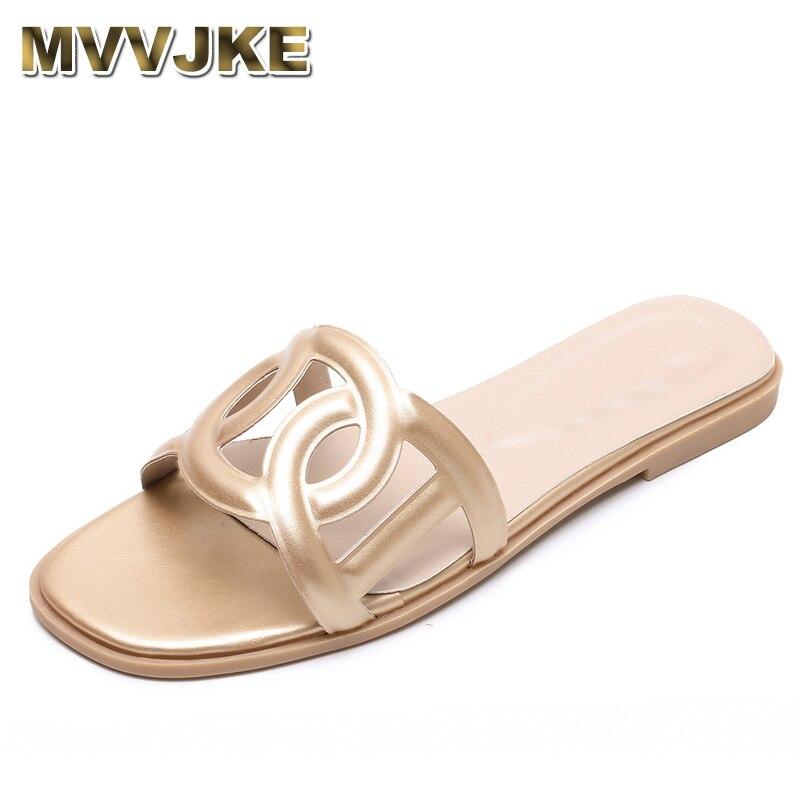 MVVJKE, novedad de verano, zapatos planos con agujeros para mujer, zapatillas de moda 2020 para mujer, zapatillas deslizantes exteriores, zapatillas de playa informales para mujer, grandes