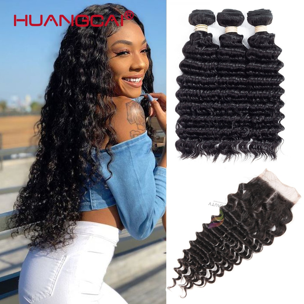 Brazilian Hair Deep Wave Bundles With Closure 100% Human Hair Extension Curly Hair For Women Natural Color 4 Pcs Remy 8-32inch