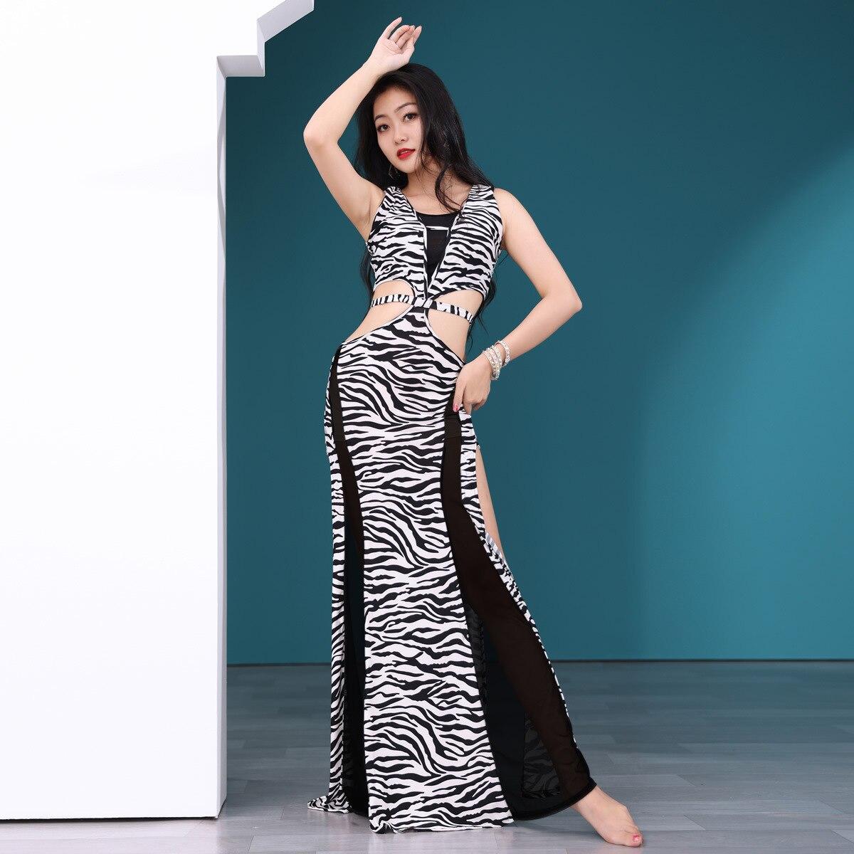 Sexy Women Dancewear Belly Dance Clothes Leopard Outfit One-piece Sundress Girls Practice Costume Bellydance Zebra Long Dress