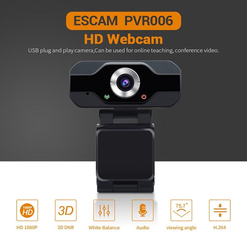ESCAM PVR006 USB Webcam Full HD 1080P con cancelación de ruido Micrófono Skype Streaming Live cámara para ordenador