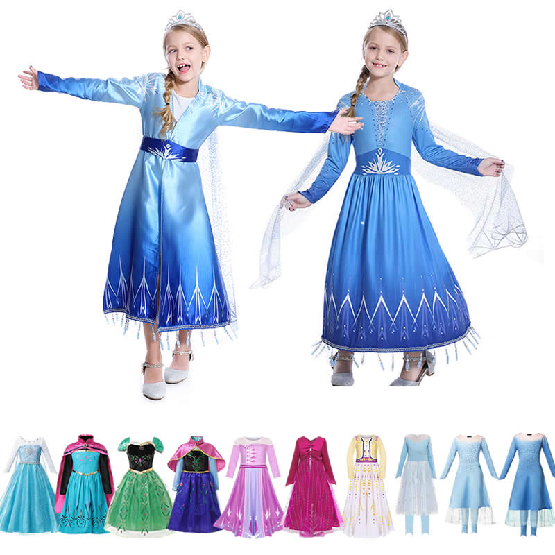 Robe de princesse Elsa pour filles   Costume dinspiration dhiver Anna Film de dessin animé, maquillage manches longues, bonhomme de neige, ensembles de fête Cosplay Olaf