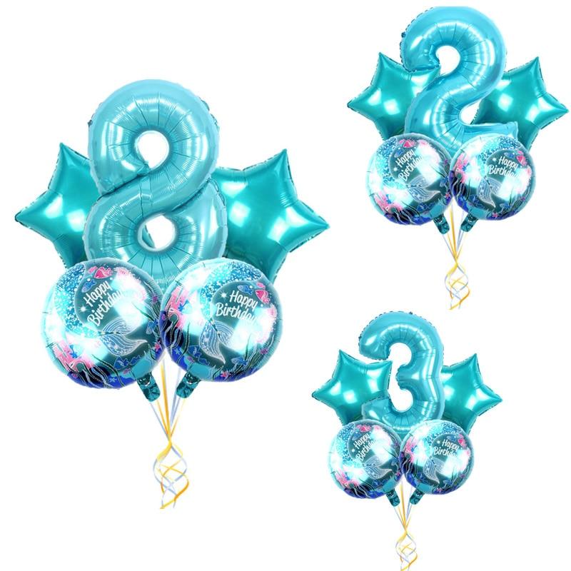 Globo de papel de sirena de dibujos animados grande de látex pequeña sirena 30 pulgadas número conjunto globos chica Feliz cumpleaños fiesta regalo globos