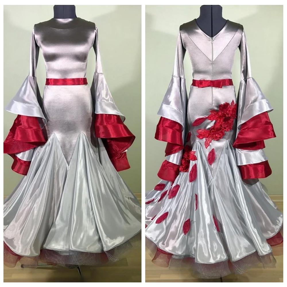 فستان قاعة الرقص ، أكمام واسعة ، ثوب الرقص ، ثوب الرقص ، ثوب الكرة ، أزياء المسرح ، اللون الرمادي