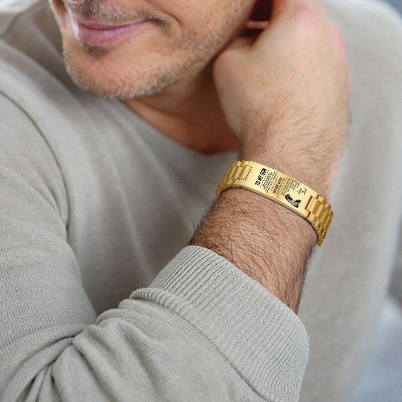 Pulsera personalizada para hombre, acero inoxidable en Color dorado, texto personalizado para mi hijo, accesorios para hombre