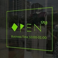 new store opening business hours letter word wall sticker sign baking tea restaurant coffee shop window welcome poster sticky