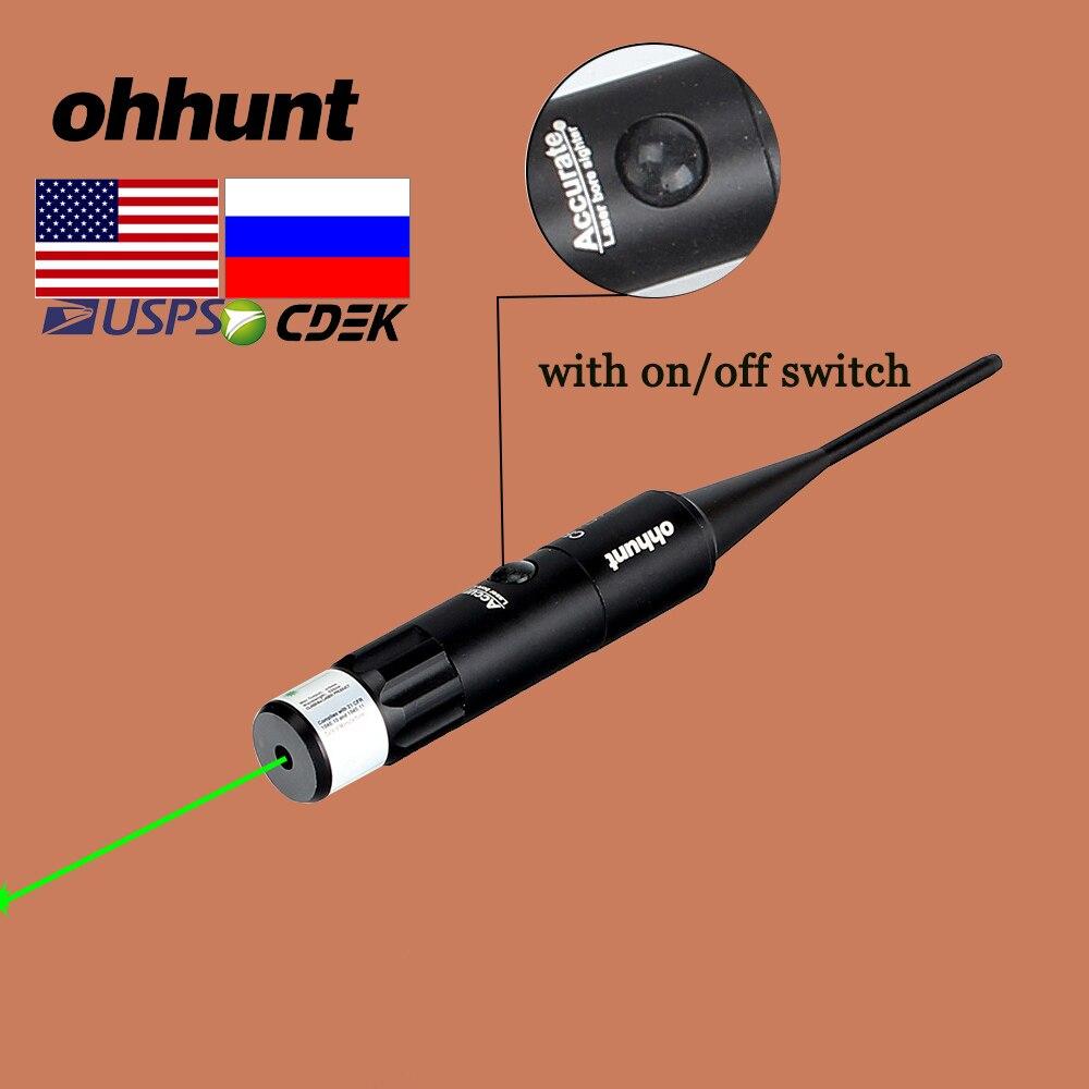 Ohhunt vermelho verde laser furado vista kits para. 22 a. 50 calibre vermelho verde ponto boresighter para caça riflescope rifle com interruptor