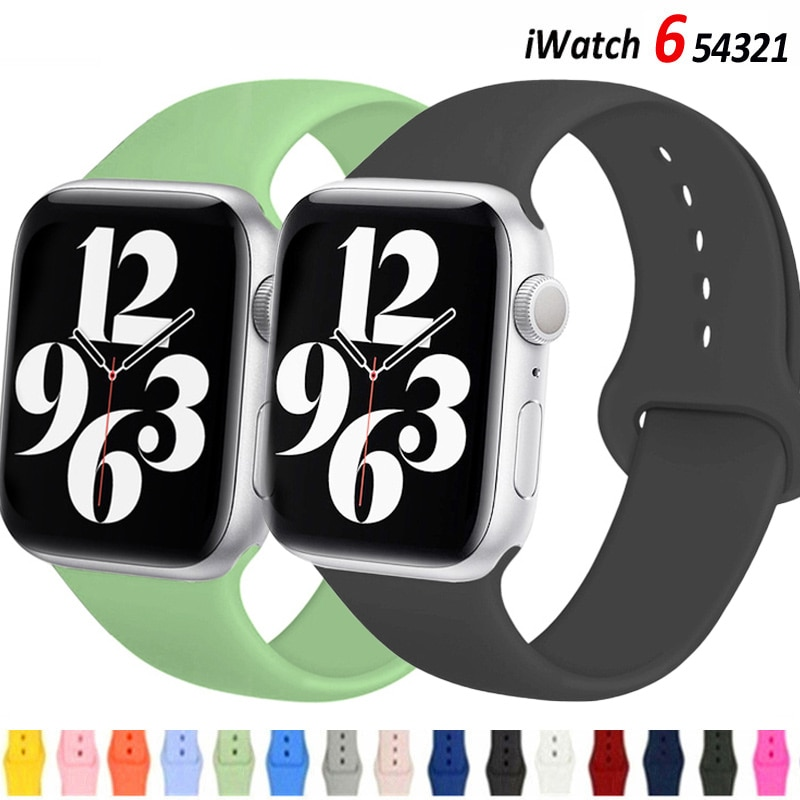 strap for apple watch 4 band 44mm 40mm iwatch 4 bands 40 mm 38mm sport silicone bracelet watchband for apple watch 5 3 2 1 42mm Silicone Strap For apple Watch band 44mm 40mm iWatch band 38mm 42mm 44 mm Rubber watchband for apple watch 6 5 4 3 se bracelet