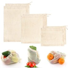 Eco Vegetable Reusable Bag Cotton Mesh Bags Produce Bag for Kitchen Fruit Vegetable Bags Reusable Cotton Shopping Bag