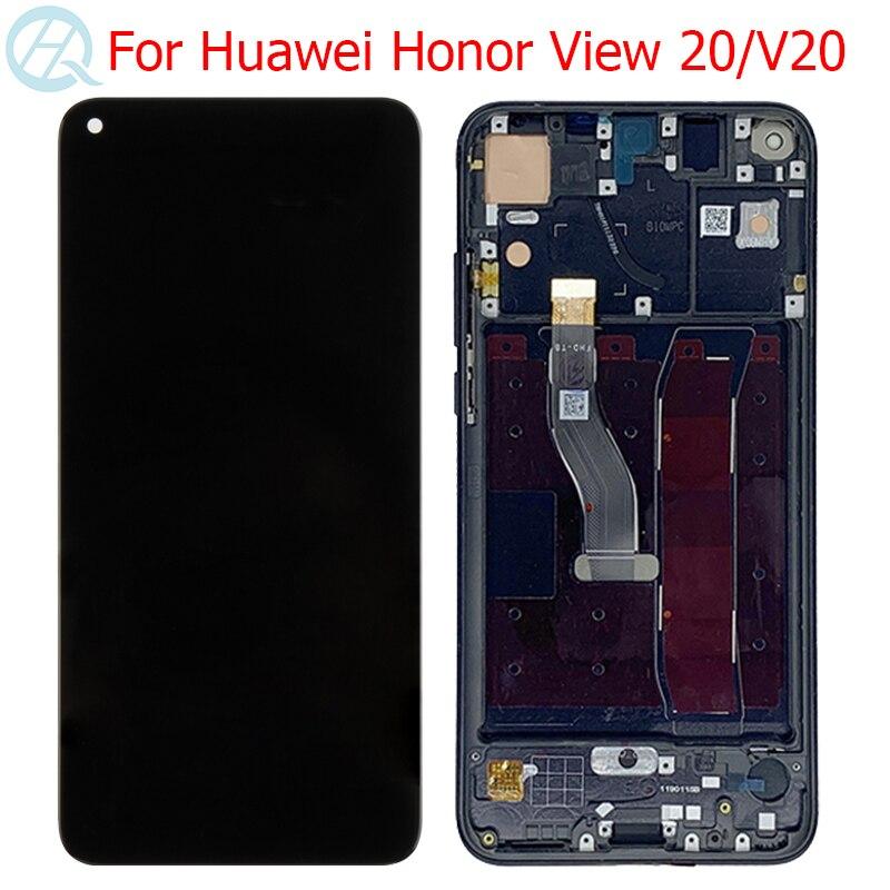 """Nova original 4 lcd para huawei honor view 20 v20 display com moldura 6.4 """"honra v20 VCE-AL00 lcd tela de toque digitador assembléia"""