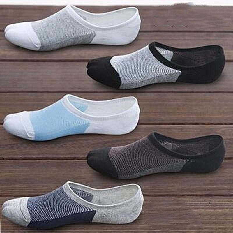 Летние мужские носки 5 парт/Лот, носки без шоу, Мужские дышащие силиконовые Нескользящие высококачественные короткие носки, сетчатые Дышащи...
