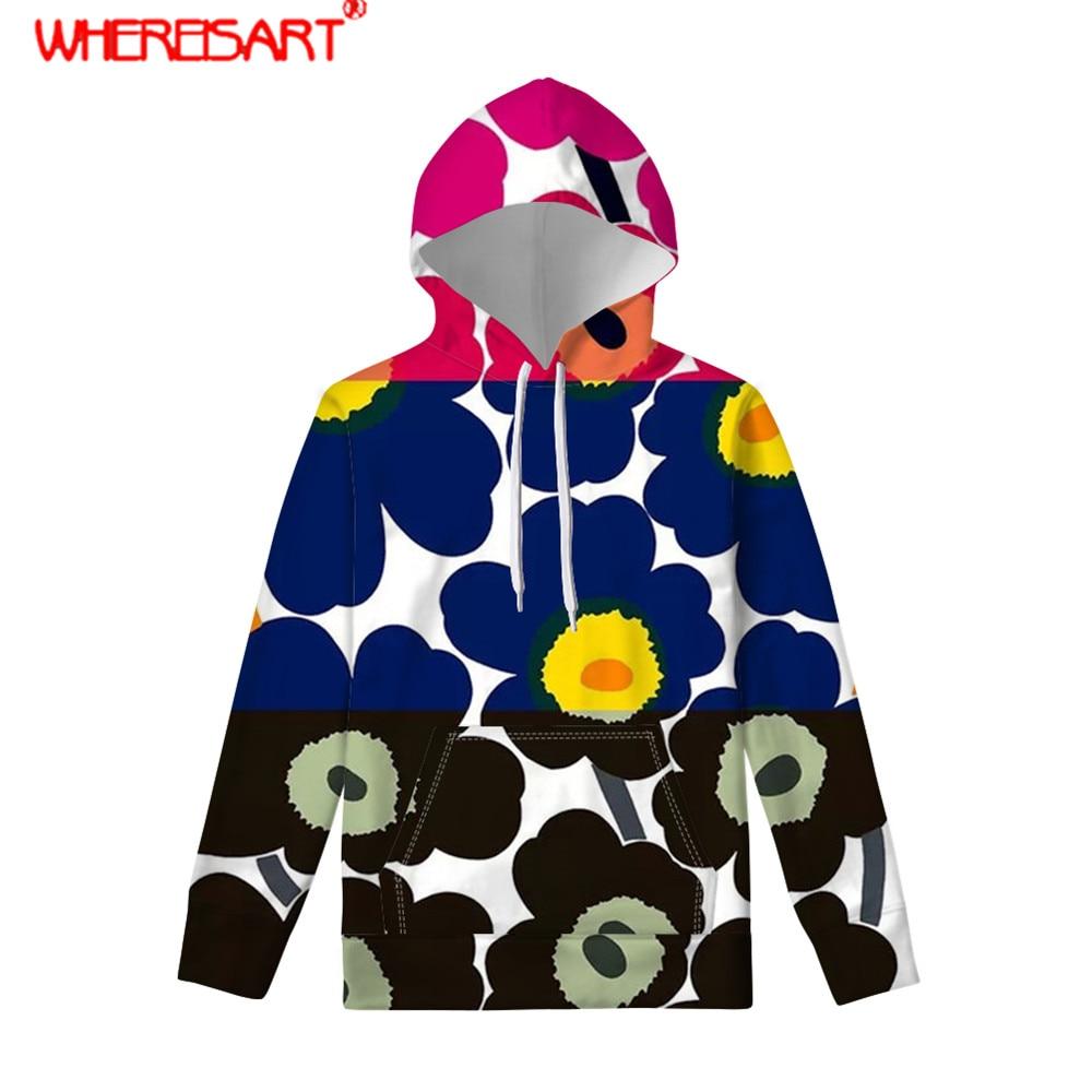 WHEREISART patrón de flores nórdicas de amapola mujeres Hoddies de manga larga Harajuku tamaño grande mujeres Sudaderas ropa de moda