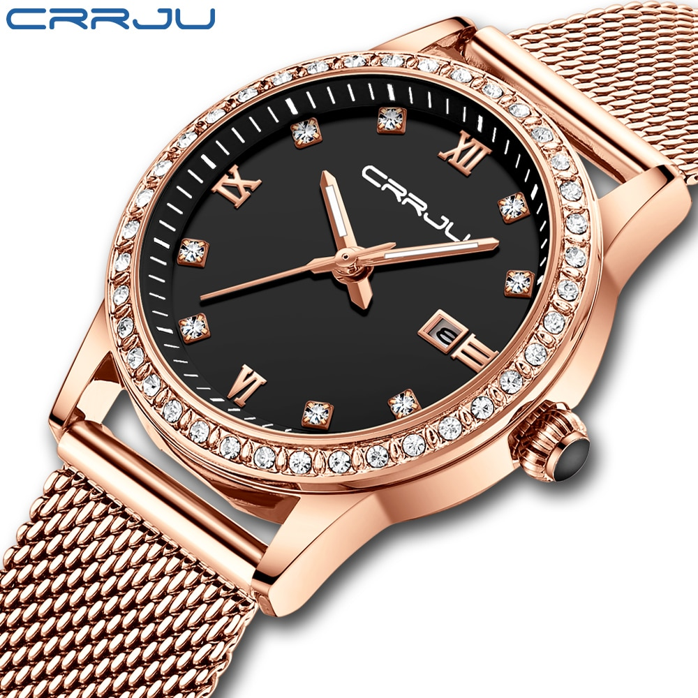 CRRJU Gold Watch Women Quartz Watches Lady Waterproof Wristwatch Womens Bracelet Female Clock Relogi