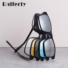 Ralferty Magnet Sunglasses Men Polarized Clip On Glasses Women Square Eyeglass TR90 UV400 3D Optic F
