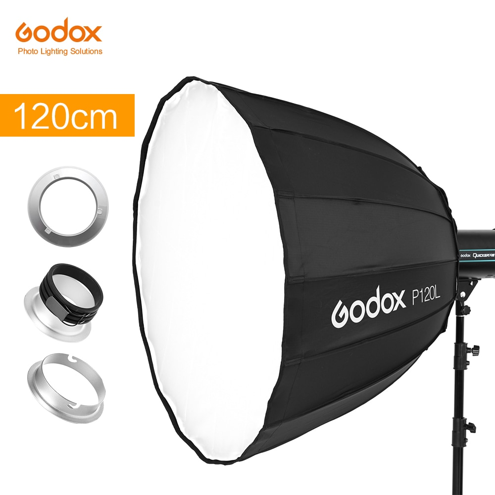Godox المحمولة P120L 120 سنتيمتر عميق مكافئ Profoto Softbox ل بوينس Elinchrom جبل ستوديو فلاش Speedlite عاكس الفوتوغرافي Softbox