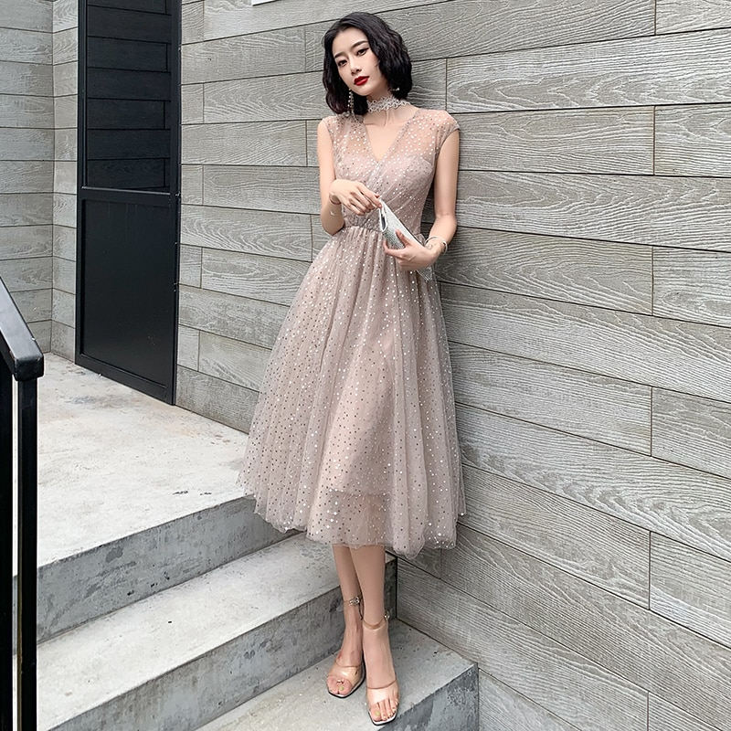 New Sequins Evening Dress Long Elegant Banquet Illusion Prom Gown V-Neck Brilliant Birthday Party Fo