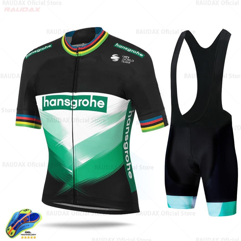 2020 hombres Boraful Hansgrohe Ciclismo Jersey Set manga corta Ciclismo camisa bicicleta Ropa verano Ciclismo