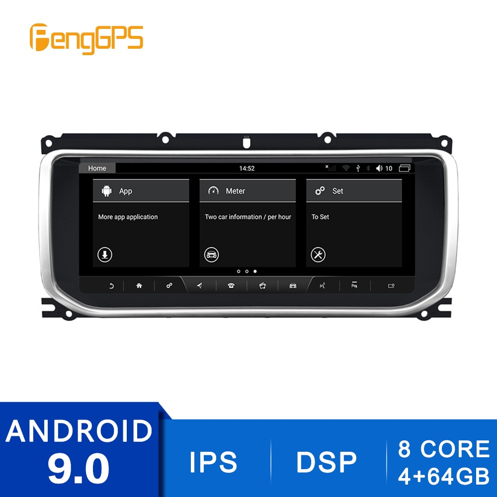 "10.25 ""DVD Player Android 9,0 für Land Rover Range Rover Evoque 2013-2016 GPS Navigation 4G + 64G 2 Din Stereo 8 Core Steuergerät"
